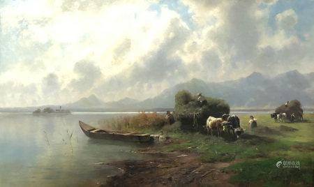 Robert August Rudolf SCHIETZOLD (1842 - 1908). Heuernte am Chiemsee