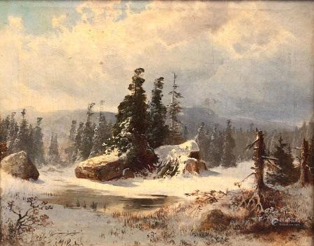 Michael SACHS (1836 - 1893). Hünengrab im Schnee.