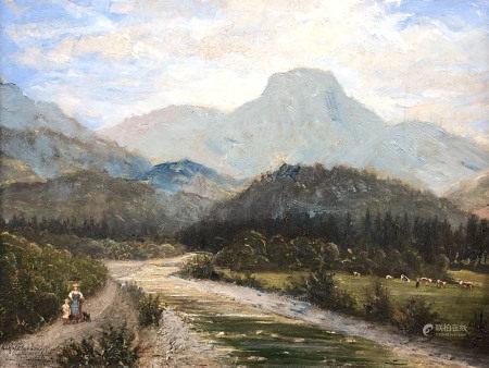 Paul FELGENTREFF (1854 - 1933). Alpenfluss mit Kühen und Mutter mit Kind.