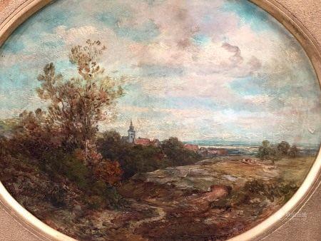 Anton BURGER (1824 - 1905). Dorf in einer sommerlichen Hügellandschaft. 1890.