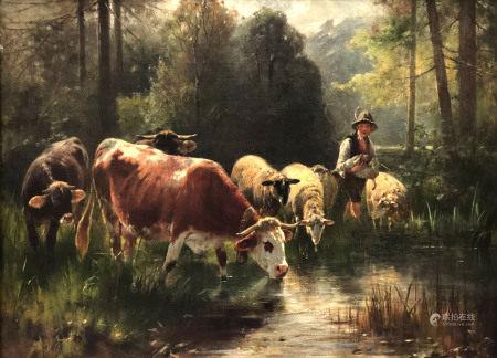 Friedrich Otto GEBLER (1838 - 1917). Hirte mit Vieh.