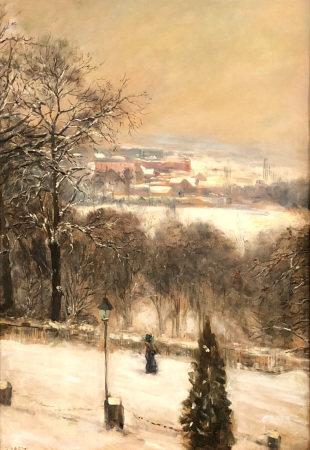 Carl Friedrich W. GEIST (1870 - 1931). Dame vor Stadt im Winter.