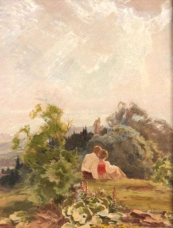 Gustav EYER (1887 - 1946). Liebespaar blickt ins Tal.