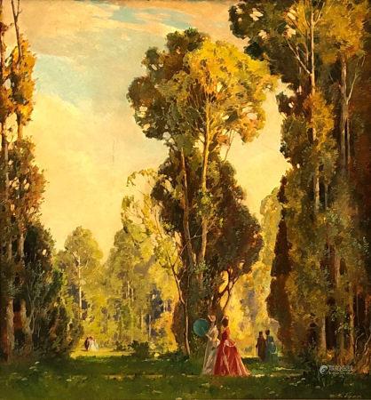"""Gustav EYER (1887 - 1946). """"Sommer im englischen Garten""""."""
