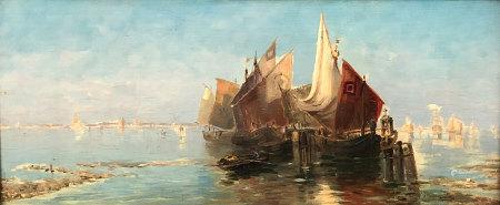 Désiré THOMASSIN - RENARDT (1858 - 1933). Fischer in der Lagune von Venedig.
