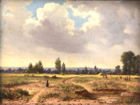 Georg WITTEMANN (1811 - 1889). Heuernte am Stadtrand.