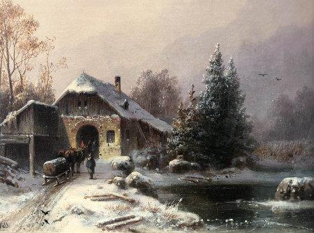 Anton DOLL (1826-1887). Holzschlitten mit zwei Pferden am Sägewerk.