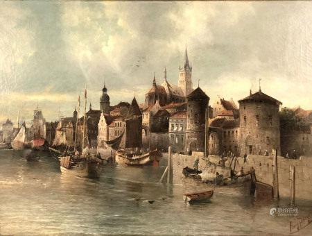 August VON SIEGEN (1850 -?). Hafenstadt.