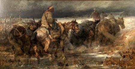 Christian Adolf SCHREYER (1828 - 1899). Arabische Reiter überqueren eine Furt.