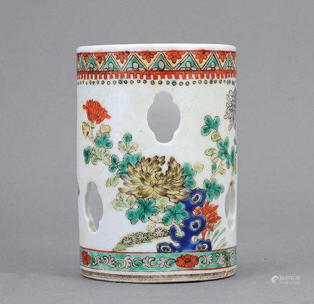 清 五彩花鳥鏤空筆筒
