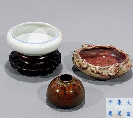 清 紅釉 、褐釉、白釉水盂 共三件