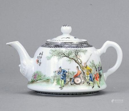 社曉樓 粉彩孟母三遷圖茶壺