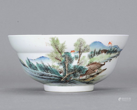清 粉彩山水內蘭竹紋折腰碗