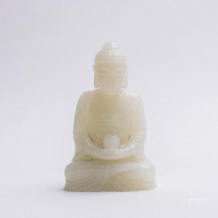 Chinese White Jade Seated Healing Buddha