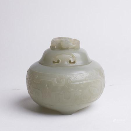 Chinese Pale Celadon Jade Incense Burner & Cover