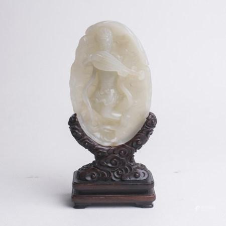 Chinese White Jade Pebble Heavenly Musician & Pipa