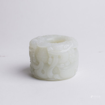 Chinese White Jade Double Fu Lion Large Bead