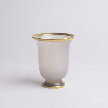 Chinese Agate Wine Cup Gold Base & Mouth Edges