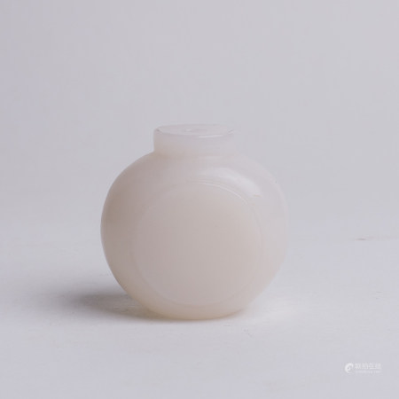 Chinese White Jade Snuff Bottle with Dish Sides