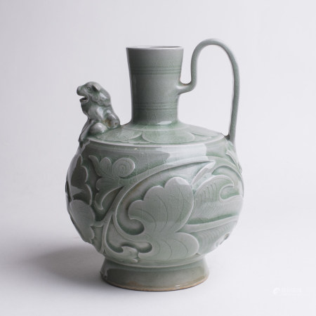 Chinese Yaozhou Carved Celadon Porcelain Pitcher