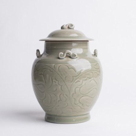 Chinese Yaozhou Celadon Porcelain Covered Jar
