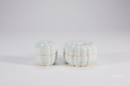 2 Chinese Qingbai Porcelain Melon Boxes & Covers