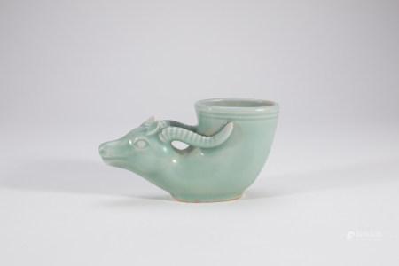 Chinese Longquan Celadon Porcelain Rhyton Cup