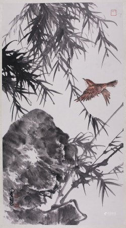 Chinese Ink Painting Paper Bird Bamboo & Rock
