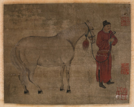 Chinese Ink & Color Painting Horse and Scholar