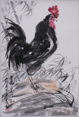 Chinese Ink Painting of Black Rooster, Huang Sou