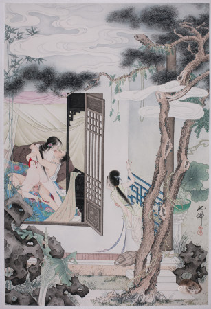 Chinese Erotic Color Painting Man Girl Servant
