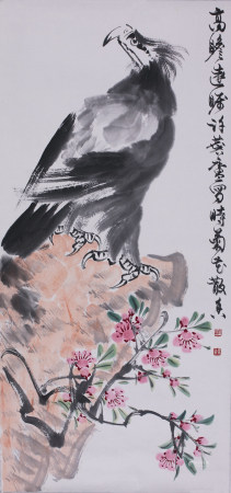 Chinese Ink Painting on Paper Hawk Flower Rock