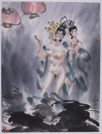 Chinese Erotic Ink & Color Painting 2 Show Girls