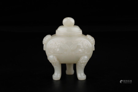 CHINESE CARVED HETIAN JADE TRIPOD CENSER