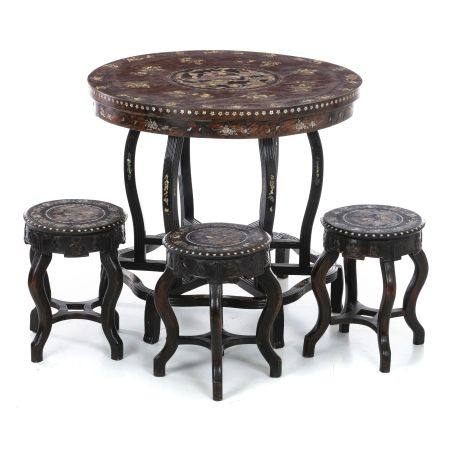 Chinese table and three stools with mother-of-pear