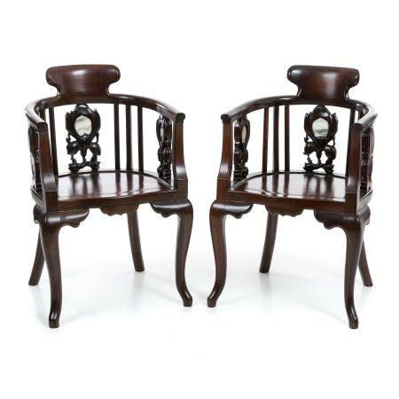 Pair of Chinese Hongmu armchairs, Minguo
