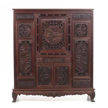 Chinese carved hogmu cabinet, Minguo