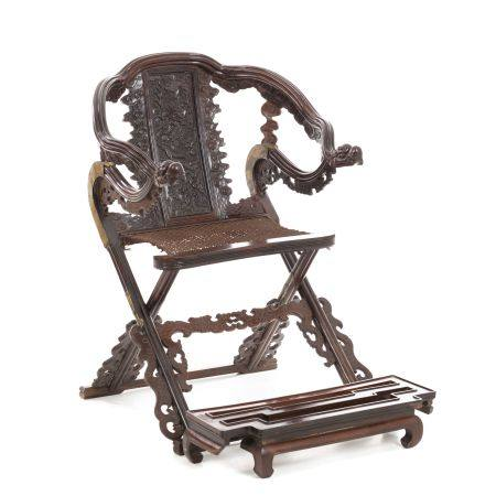 Chinese Hongmu hunting chair with footrest, Minguo