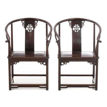 Pair of Chinese horseshoe armchairs, Minguo