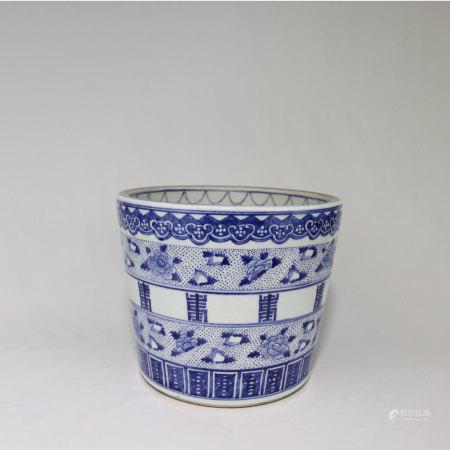清乾隆 染付蓮花紋鉢
