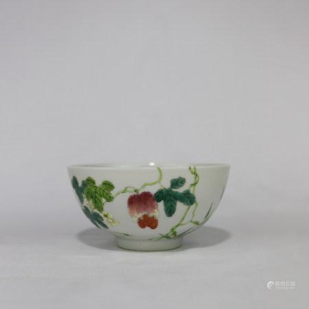 清光绪 粉彩折枝花卉纹碗
