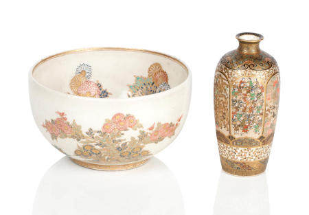 A satsuma bowl and vase