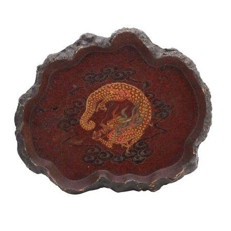 A BURLWOOD AND LACQUER TRAY  Meiji