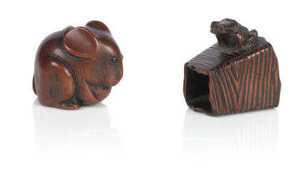 Three wooden netsuke  19th century,