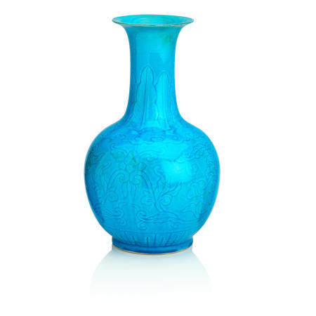 A turquoise-glazed bottle vase Xuande six-character mark in zhuanshu script but 19th century