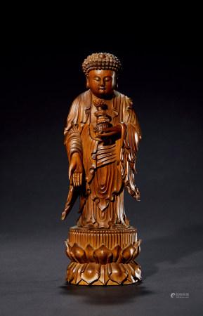 清 檀香木阿弥陀佛造像