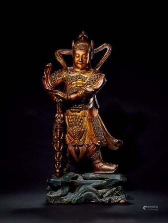 明 金漆木雕韦陀立像
