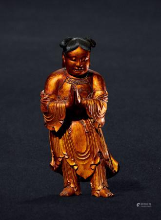 清 木胎髹金善财童子立像