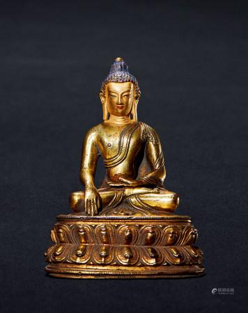 明 铜鎏金释迦摩尼造像 (藏传)