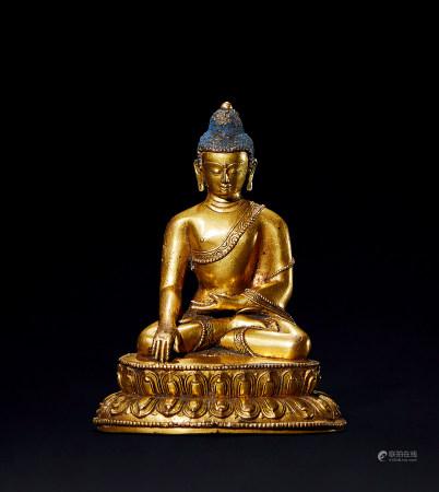 明 铜鎏金释迦摩尼造像 (尼泊尔风格)